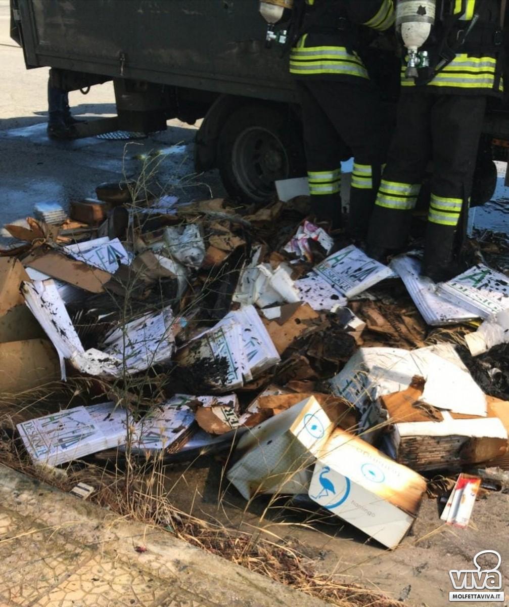 Mezzo in fiamme in Via Olivetti