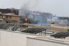 Bruciano erba e sterpaglie nei pressi della Chiesa della Madonna della Rosa. Sul posto i Vigili del Fuoco - LE FOTO