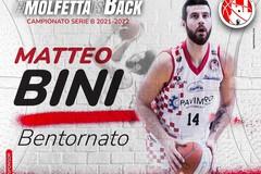 Pallacanestro Molfetta - Matteo Bini: insieme anche nella prossima stagione
