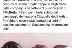 """Compagnia teatrale derubata a Molfetta, il caso a """"Chi l'ha visto"""""""