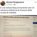 Domani scuole aperte a Molfetta, virale una fake news
