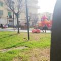 Pannello abbandonato nel verde, giochi sradicati: anarchia a Piazza Roma