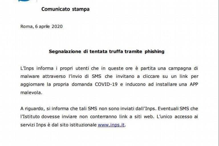 Bonus 600 euro, Inps segnala la nuova truffa via sms