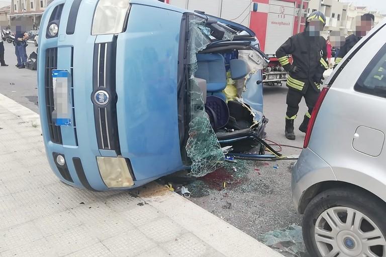 L'incidente stradale avvenuto in via Spadolini