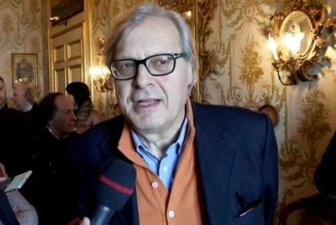 Vittorio Sgarbi visita Palazzo Poli